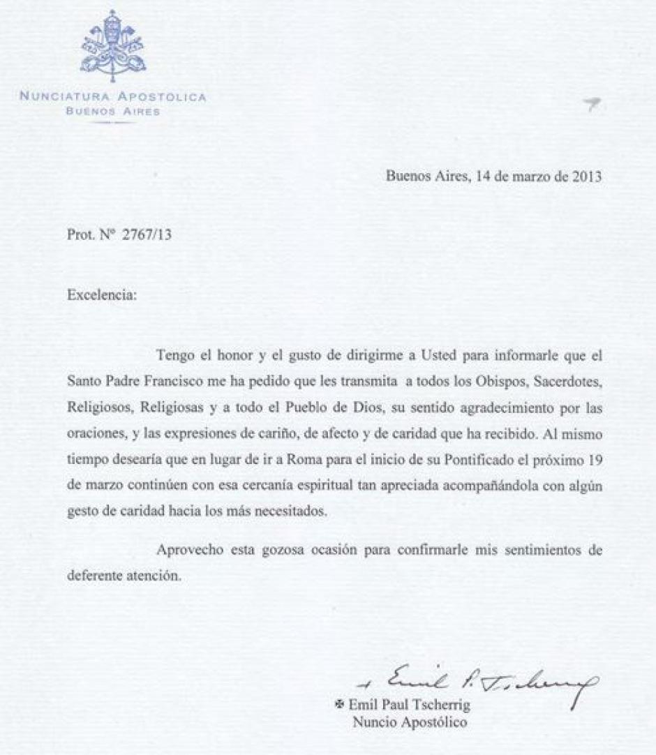 Tras ser elegido, pidió a los argentinos no viajar a Roma
