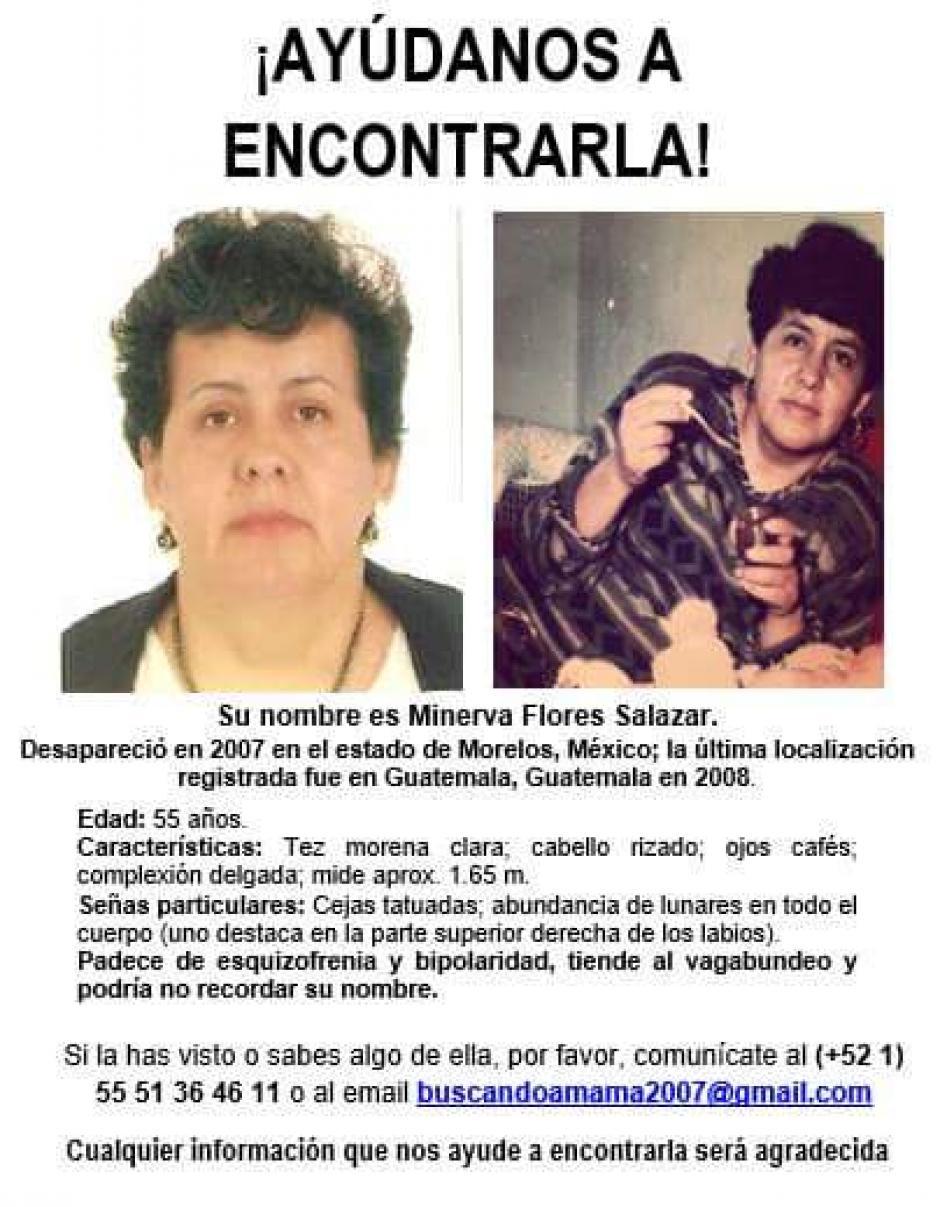 Este es el cartel donde se informa de la desaparición de Minerva Flores. (Foto: Facebook)