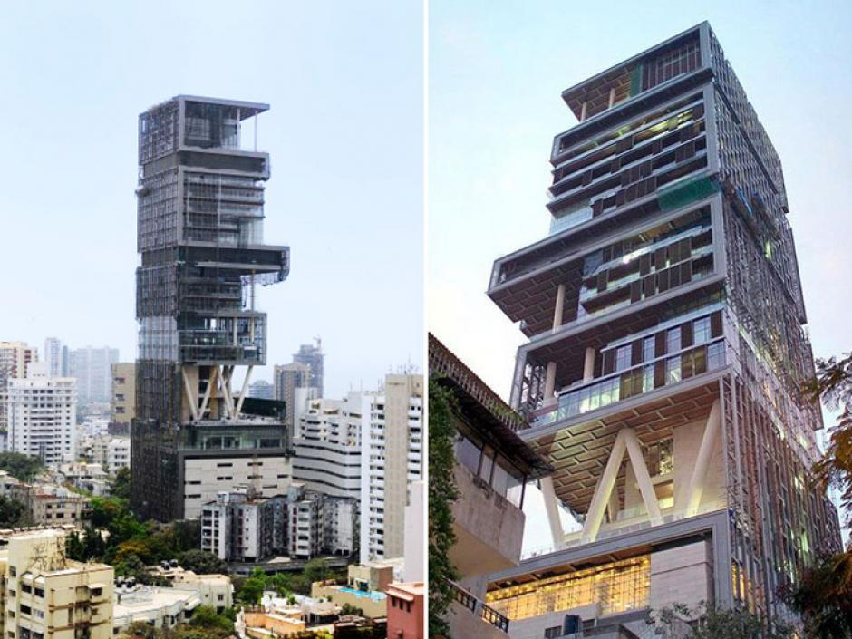 Está ubicada en Mumbai, India. Cuesta mil millones de dólares. Tiene 6 sotános de parqueos, 3 helipuertos y necesita 600 personas para mantenerlo. Es propiedad de Mukesh Ambani, el hombre más rico de la India. (Imagen: Forbes)