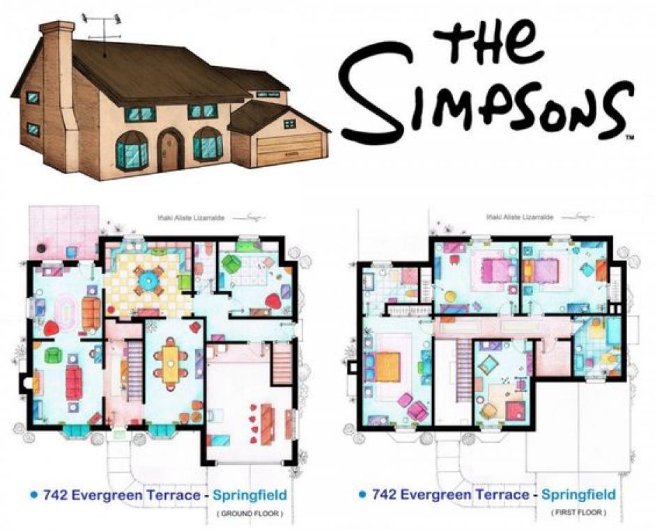 """La vivienda de """"Los Simpson"""" tiene cuatro habitaciones amplias entre otros ambientes. (Foto: www.pinterest.com)"""