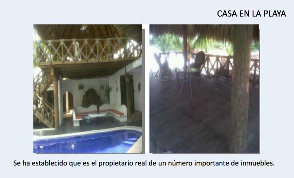 Una de las casas en la playa está a nombre de un tercero, según el MP para ocultar la propiedad. (Foto: CICIG)