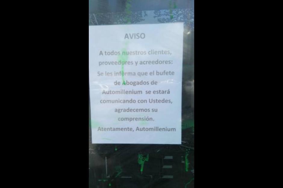 Este fue el aviso colocado por Auto Millenium a todos sus clientes. (Foto: Facebook)