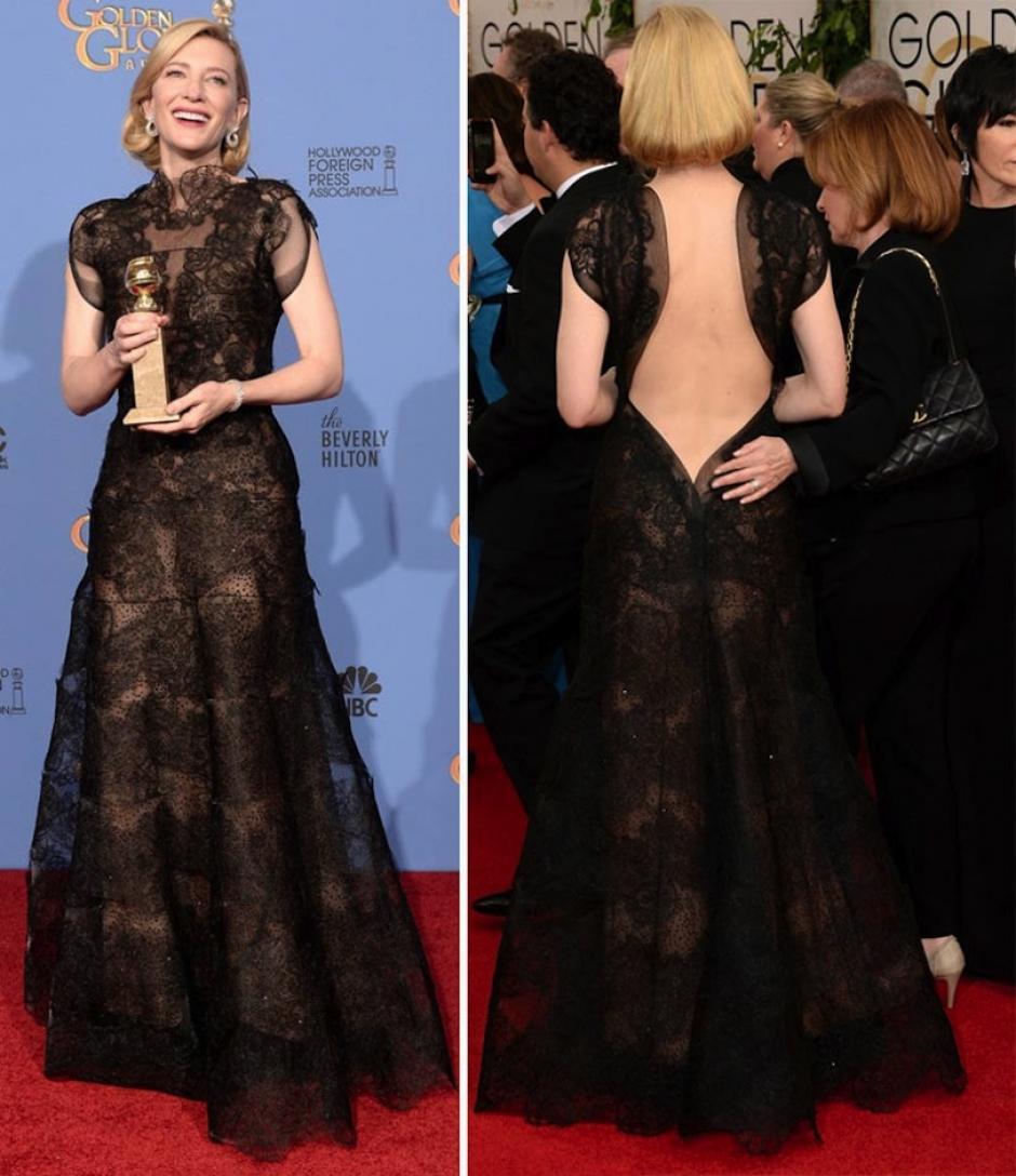 """Cate Blanchett, ganadora como """"Mejor Actriz en una Película de Drama"""" optó por el encaje para lograr un estilo etéreo. (Foto: StyleFrizz)"""