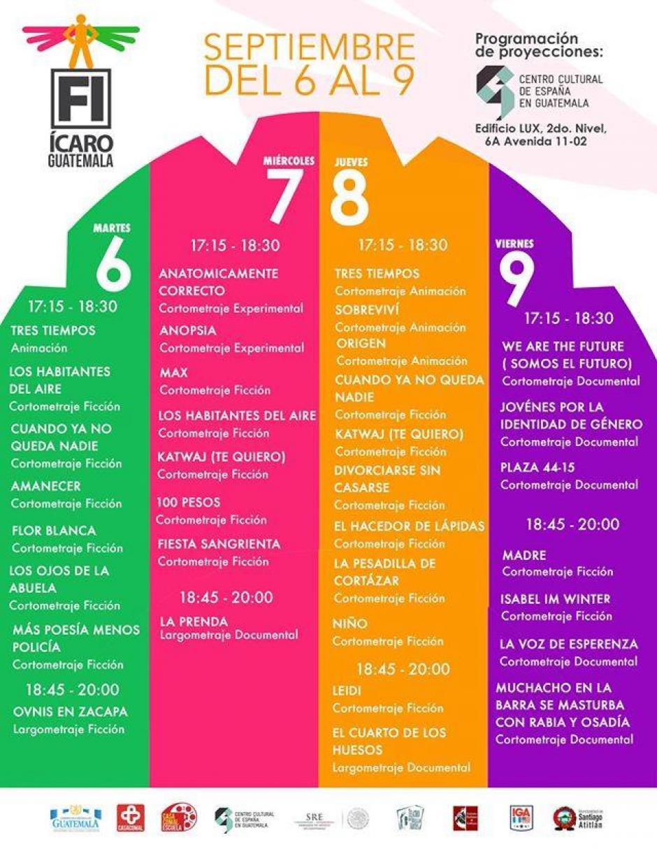Esta es la programación en el Centro Cultural de España. (Foto: Festival ícaro)