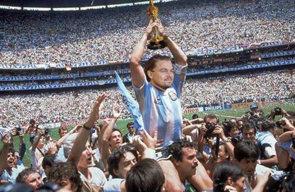 DiCaprio y la Copa del Mun... el Oscar. (Foto: Twitter)
