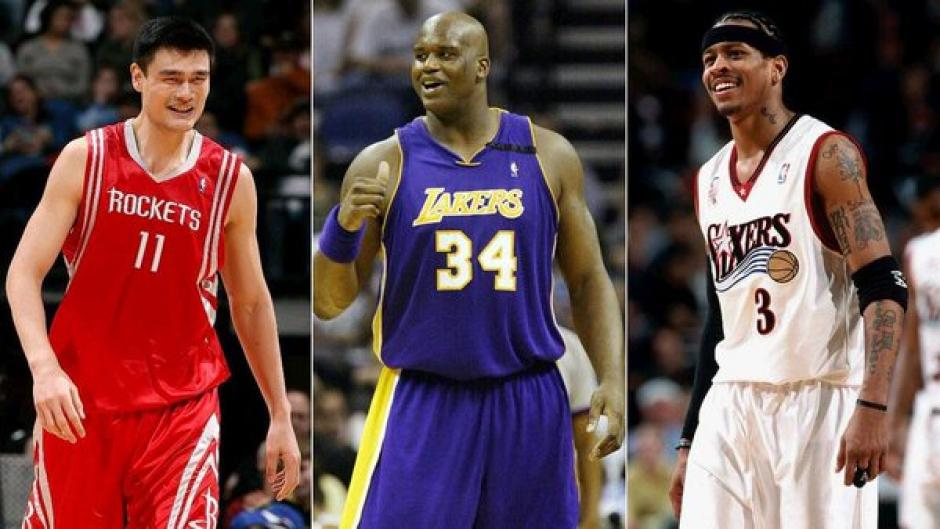 Allen Iverson, Shaquille O'Neal y Yao Ming foto