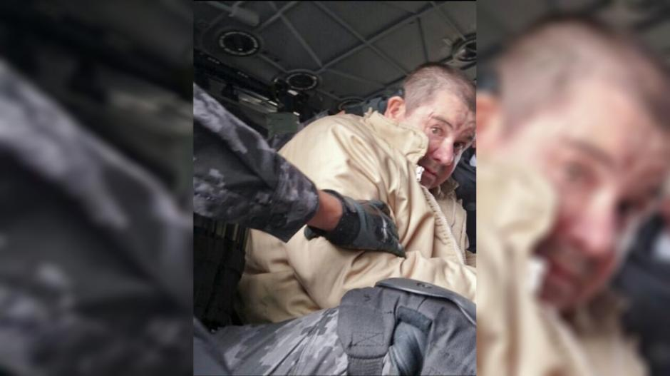 La fiscalía general publicó imágenes dell Chapo en el interior de un helicóptero de la Fuerza Aérea Mexicana. (Foto: www.infobae.com)