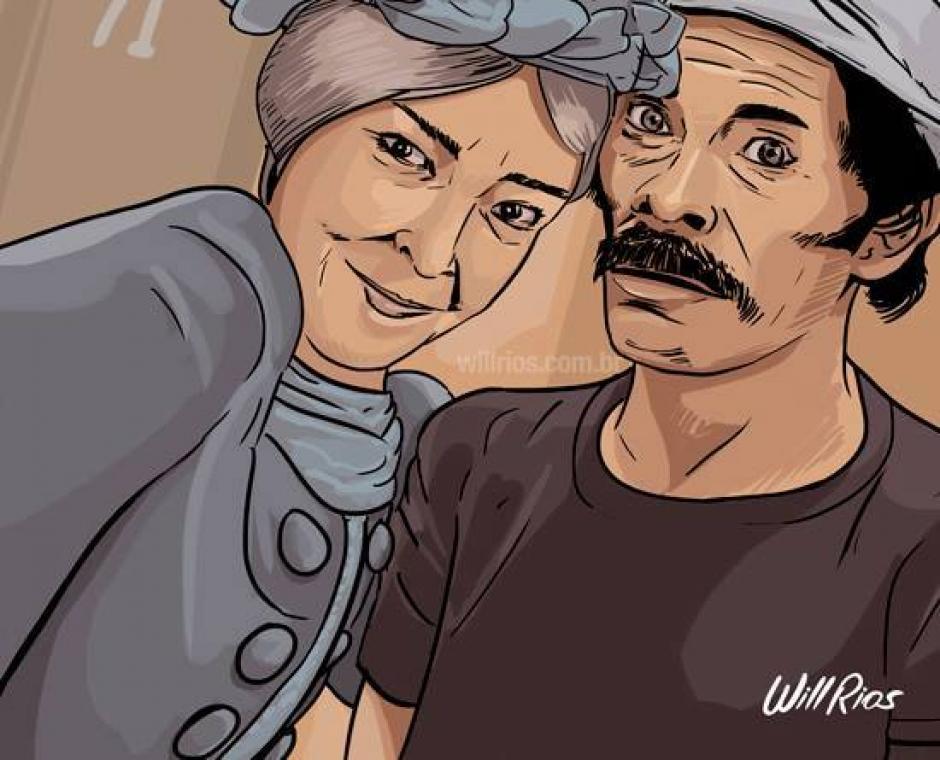 El peculiar amor que le tenía Doña Cleotilde a Don Ramón en una selfie. (Foto: Will Ríos/Facebook)