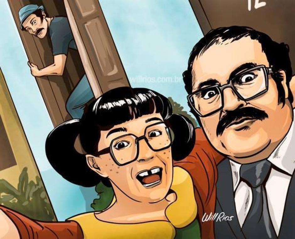 La Chilindrina salvando a su papá de la visita del Señor Barriga. (Foto: Will Ríos/Facebook)