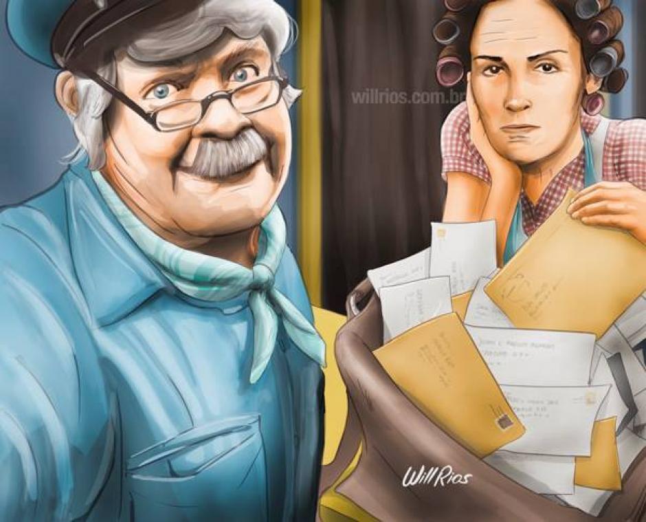 Jaimito el Cartero con Doña Florinda, en la típica escena donde le decía que buscara su correspondencia por ella misma. (Foto: Will Ríos/Facebook)