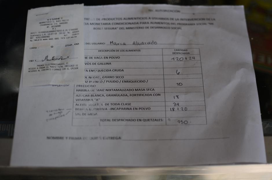 Este formulario indica cuáles son los productos que pueden adquirir. (Foto: Alejandro Balán/Soy502)