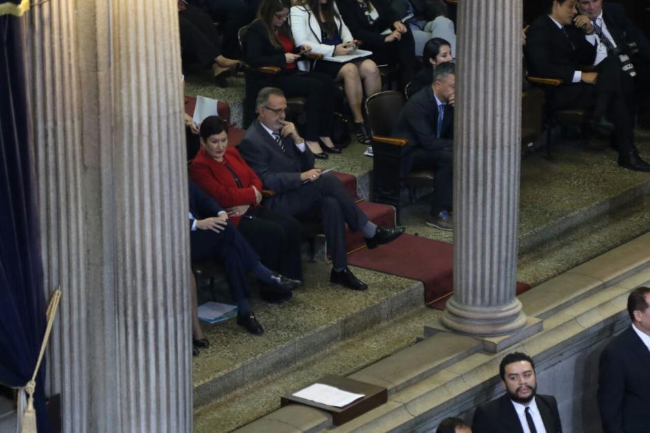 Los jefes del MP, la CICIG y la PDH observan la sesión de este lunes. (Foto: Alejandro Balán/Soy502)