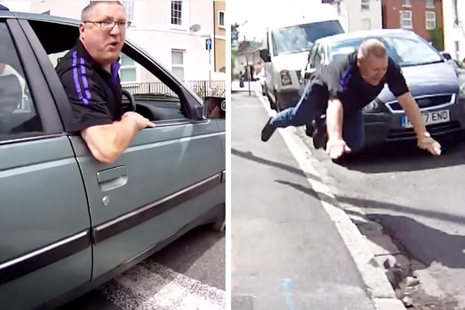 Conductor insulta a ciclista por usar la vía completa. (Imagen: YouTube)