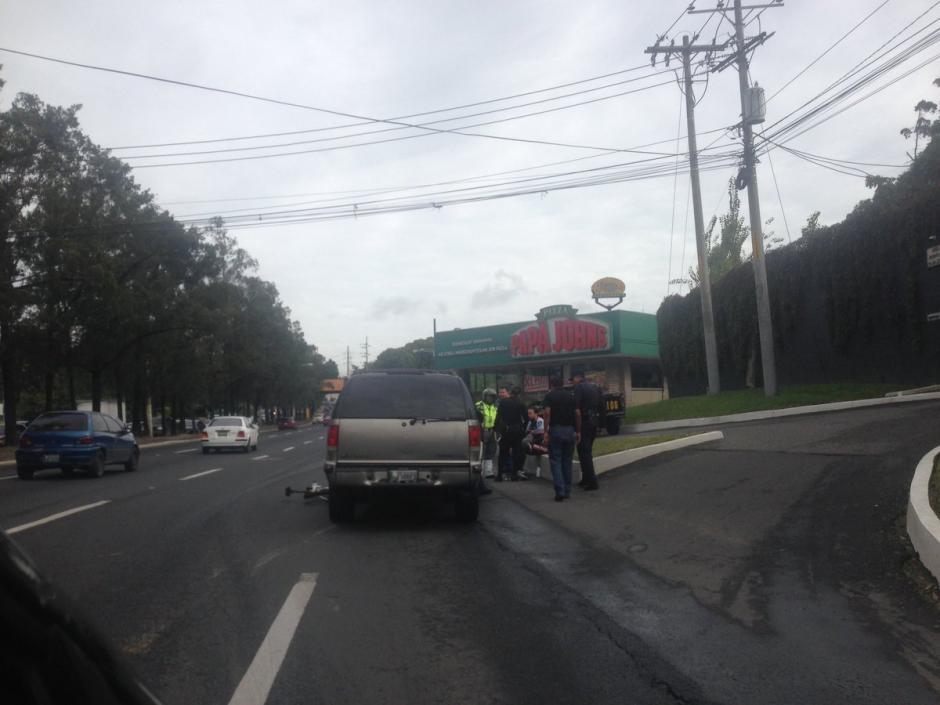 Un ciclista fue atropellado en la zona 11 capitalina. (Foto: @jackeline2177)