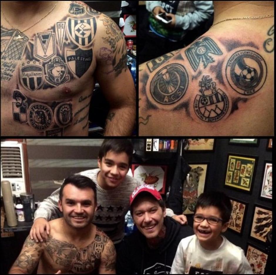 El tatuaje de los logos de los 16 clubes donde ha jugado Monje. (Foto: tattoorockers)