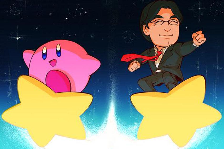 Kirby e Iwata en una postal de homenaje
