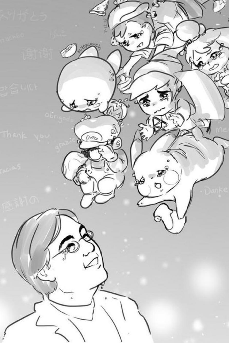 Una ilustración bastante emotiva que muestra a Iwata y los personajes más populares de los videojuegos de Nintendo