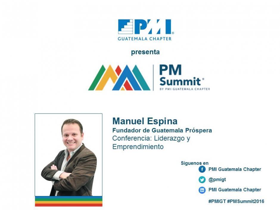 Expondrá Manuel Espina, fundador de Guatemala próspera. (Foto: PMI Capítulo Guatemala/Twitter)