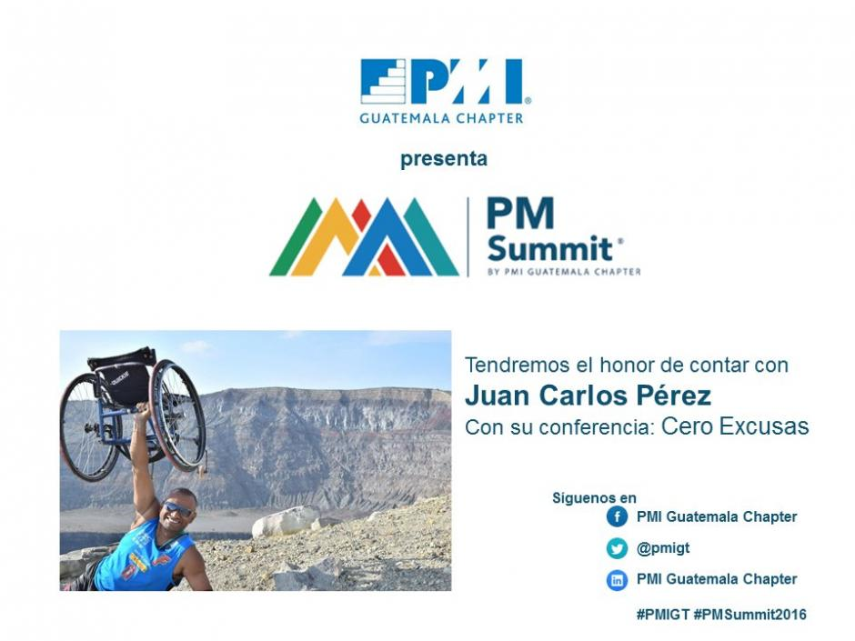 """JC Pérez quien comentará su historia y su proyecto """"Cero Excusas"""". (Foto: PMI Capítulo Guatemala/Twitter)"""