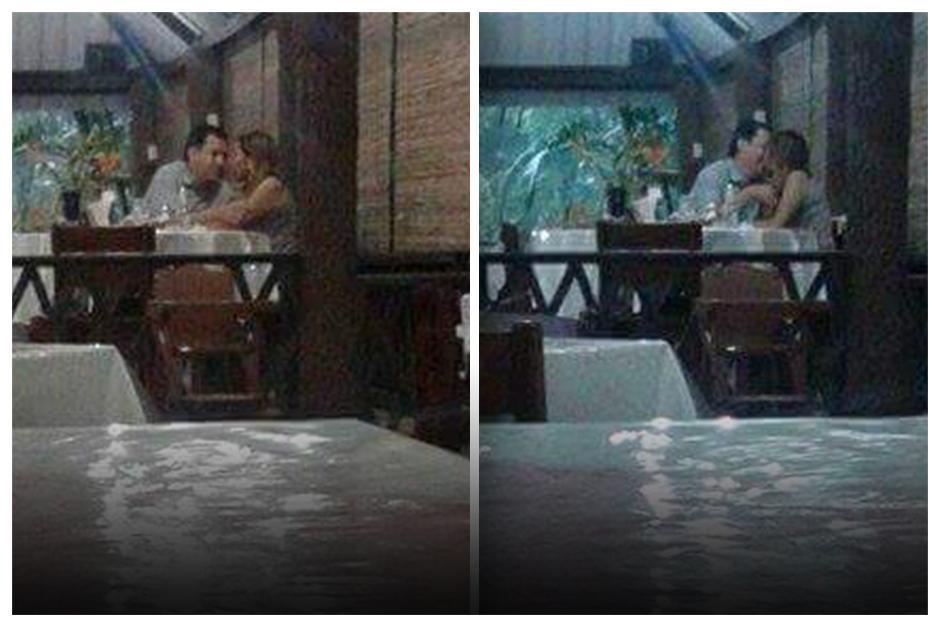 Estas fotografías del padre José Antonio Molina, párroco de Salcajá, y una señorita, fueron tomadas en un restaurante de Retalhuleu. (Foto: redes sociales/vía Gustavo Rodas).