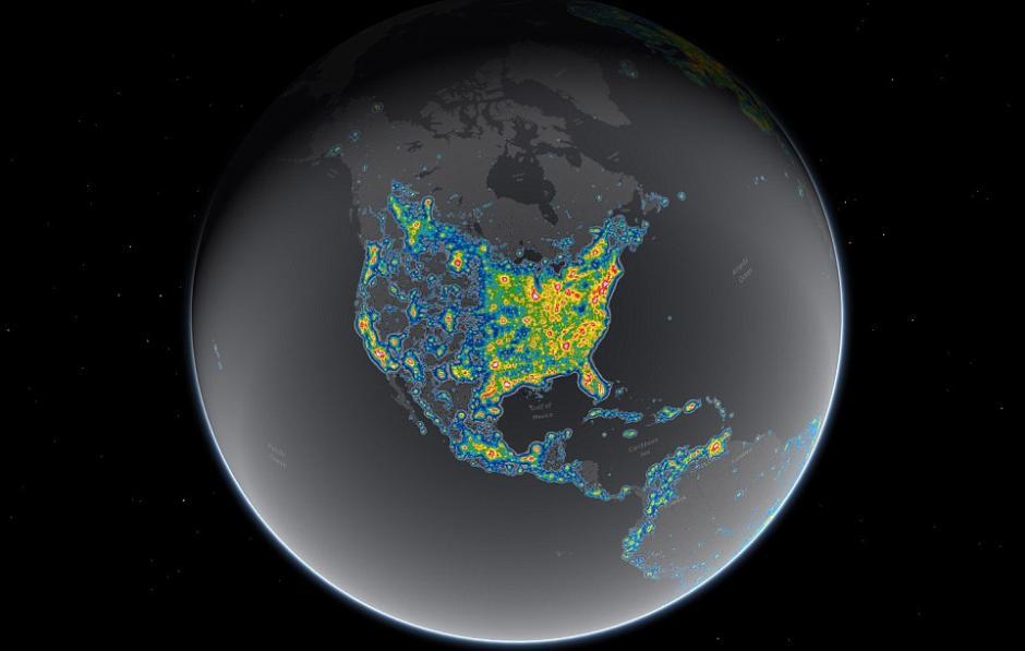 La contaminación de luz rompe el cliclo de varias espacies. (Foto: Esri)