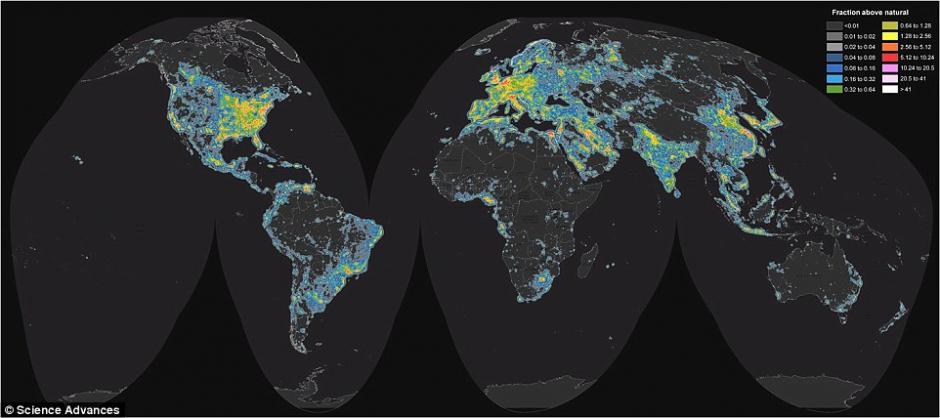 Un mapa interactivo reveló la extención de la contaminación de luz en el mundo. (Foto: CScience Advances)