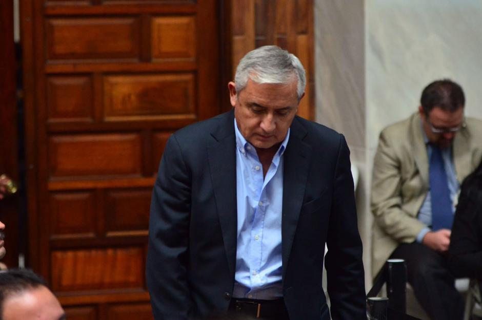 El exmandatario Otto Pérez Molina se mostró nervioso en la audiencia. (Foto: Jesús Alfonso/Soy502)