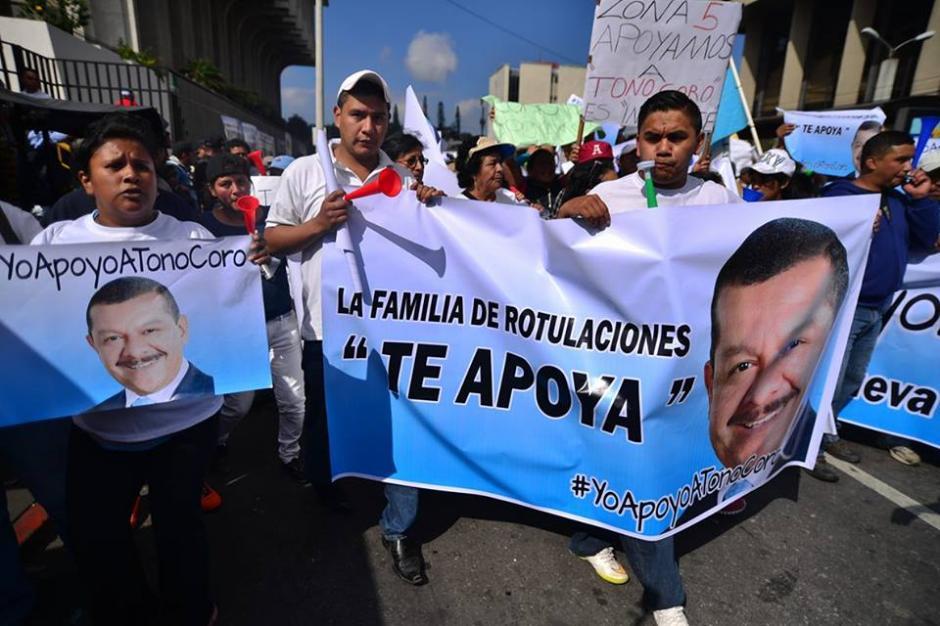 Los manifestantes llegaron a judiciales el dia que se desarrollaría la primera declaración de Coro.(Foto: Wilder López/Soy502)