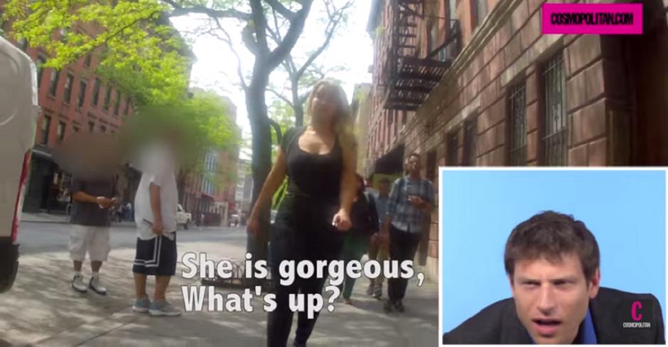Las chicas salieron a la calle y con una cámara escondida registraron los improperios que les dicen los hombres. Los novios quedaron sorprendidos. (Captura YouTube)