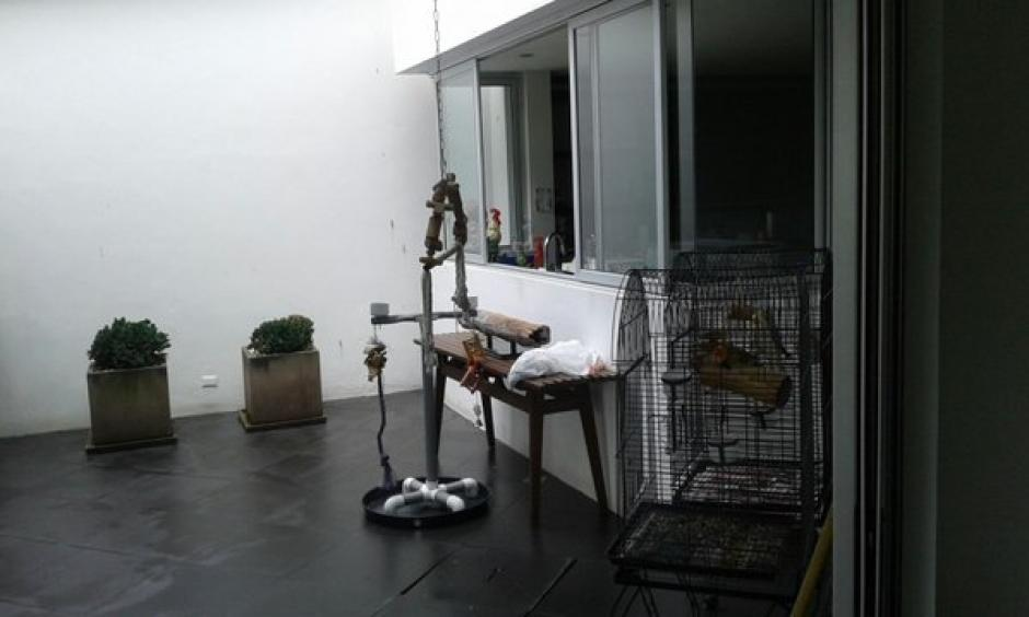 Las jaulas de las aves quedaron en uno de los espacios de la residencia. (Foto: MP)