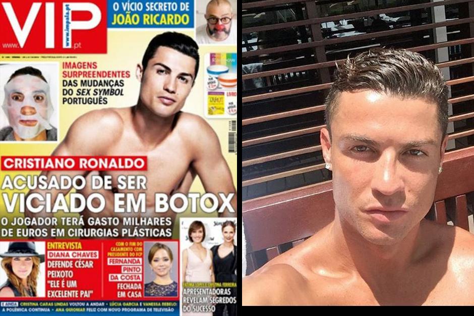 La portada de la revista VIP de Portugal asegura que Ronaldo es adicto al botox (Fotos: Instagram)