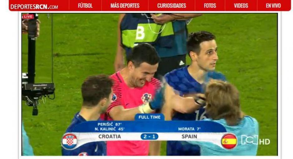El portero croata festeja con Modric al final del partido. (Foto: Captura de video)