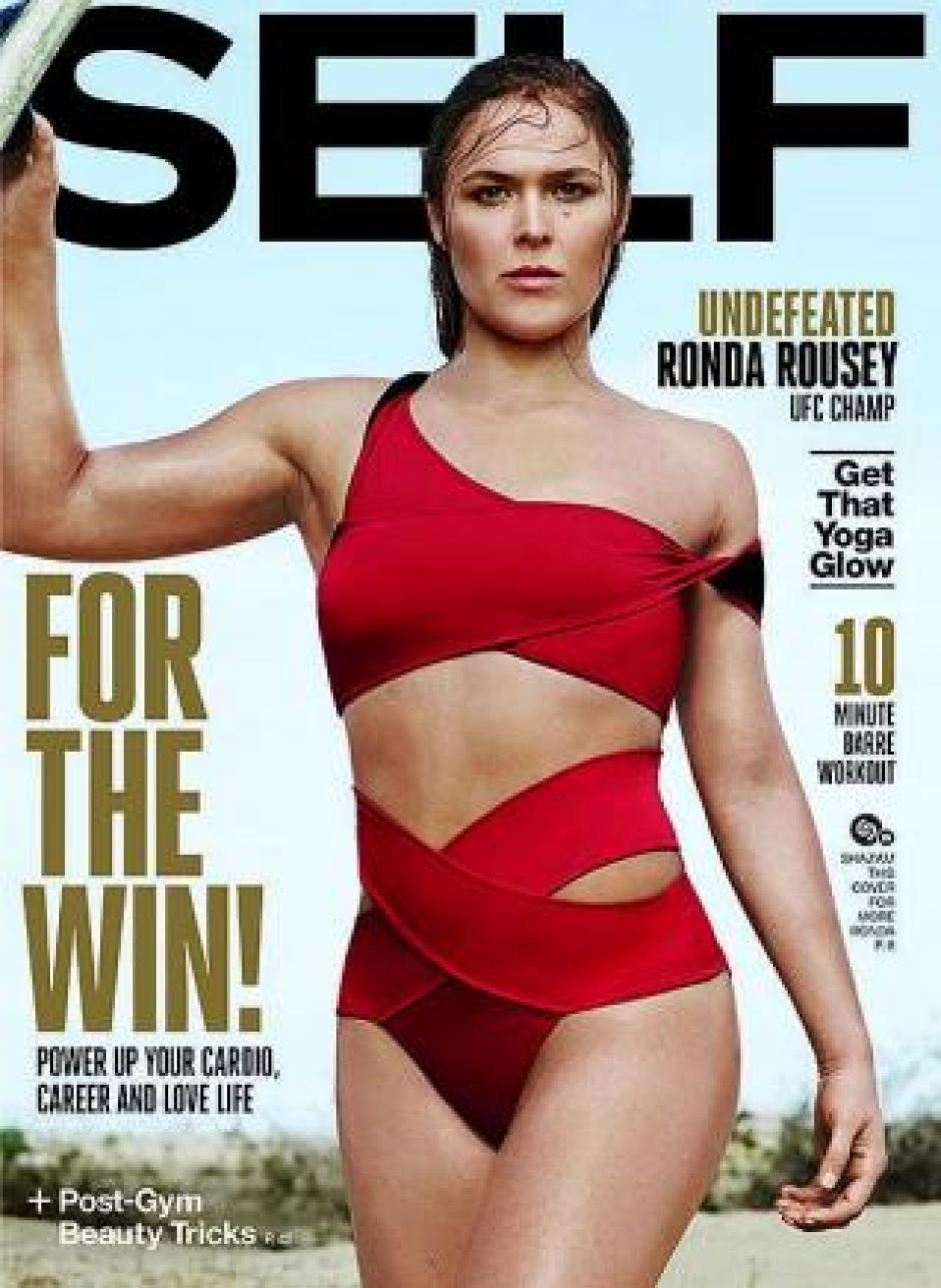 Ronda Rousey ya ha aparecido en otras portadas en las que demuestra que su furia se convierte en sensualidad frente a cámara.(Foto: Self Magazine)