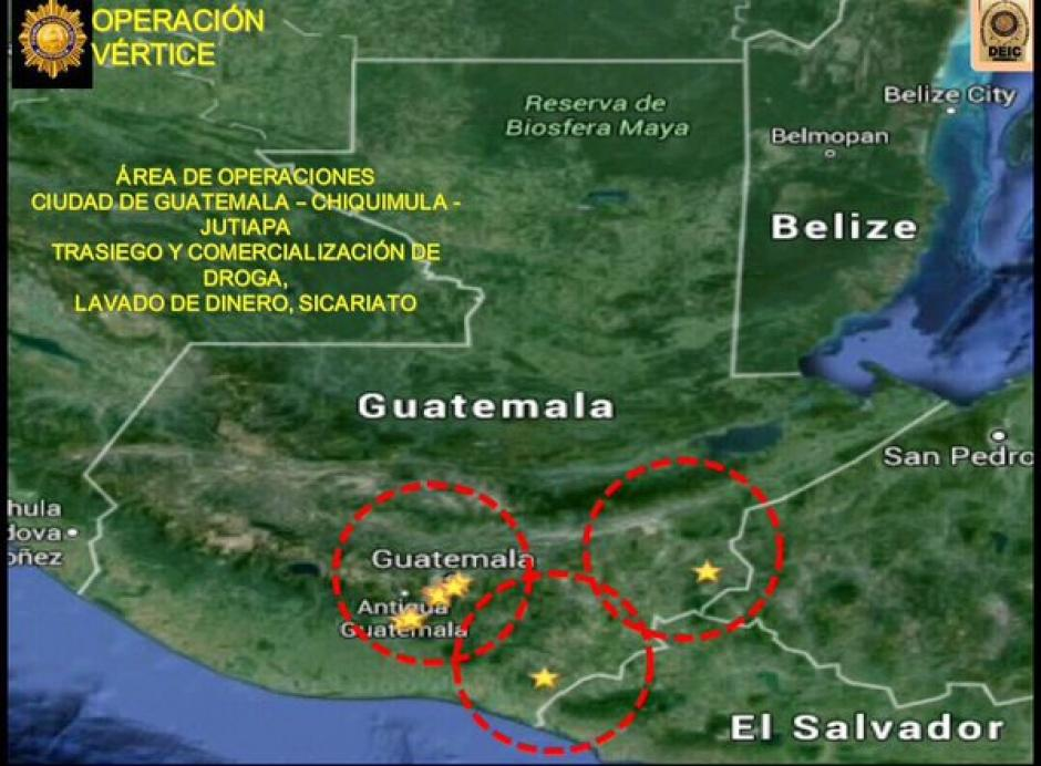 """Mapa de operaciones de los supuestos integrantes de la banda de tráfico internacional de drogas conocida como """"Los Transportistas"""". (Foto: Policía Nacional Civil)"""