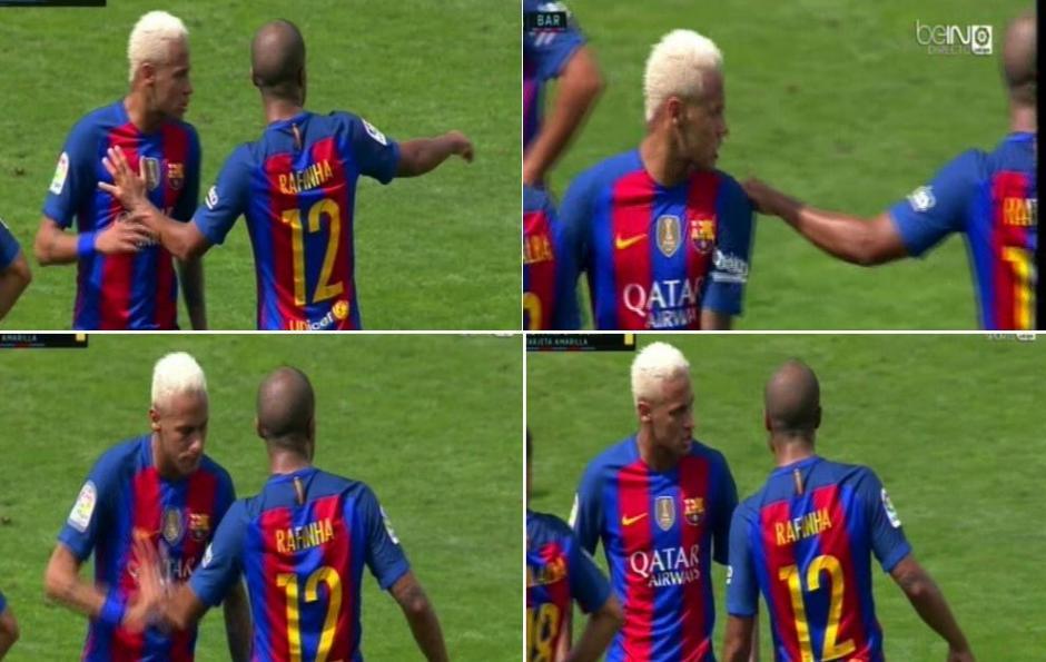 Así fue el pequeño encontronazo entre Neymar y Rafinha. (Foto: Imagen tomada de Marca)