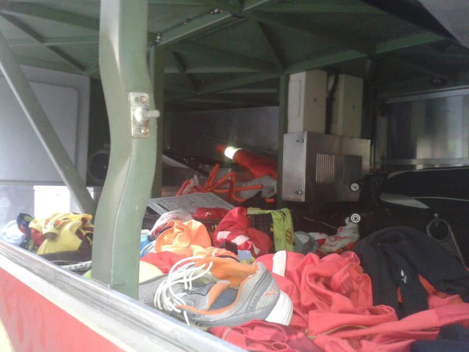 Así quedó parte del bus donde asaltaron a los jugadores del club Trujillanos. (Foto: Twitter)