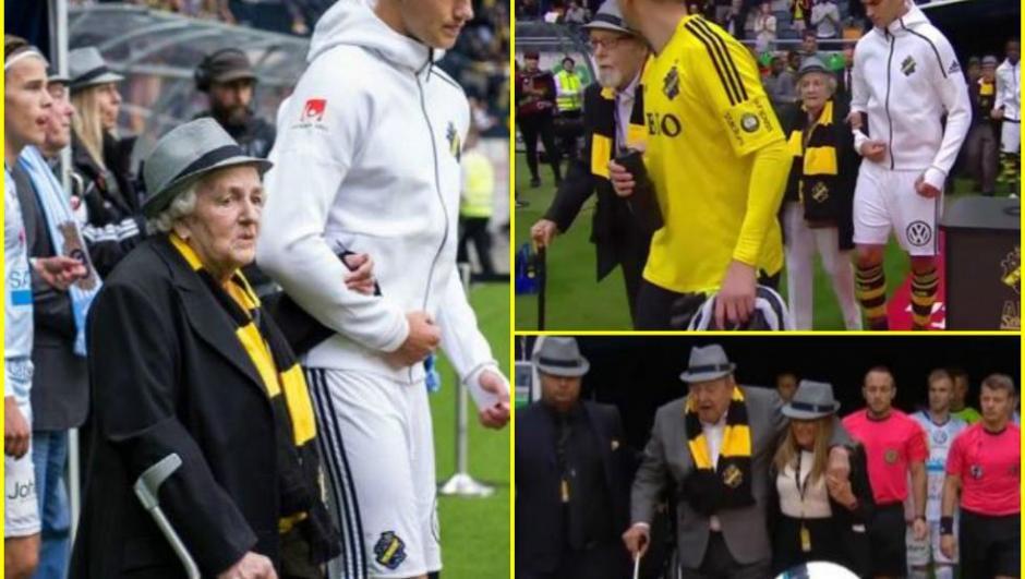 El primer abuelo en salir al campo de juego fue Lennart Johannsson, ex presidente de la UEFA y presidente honorario del AIK. (Foto: Twitter)