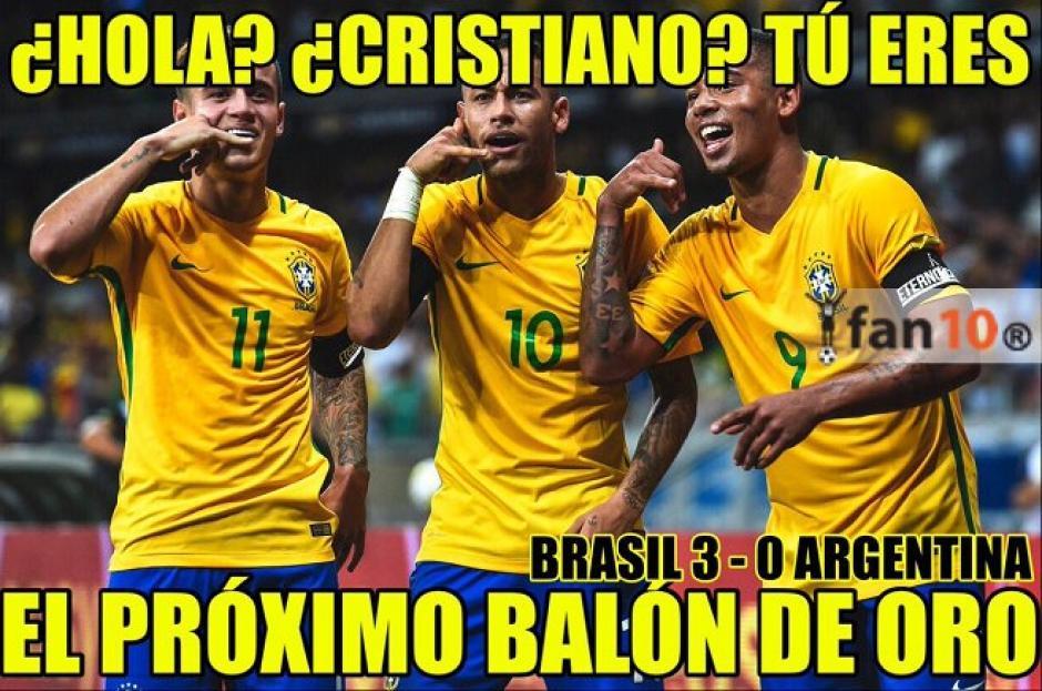 Neymar y compañía también anunciaban el Balón de oro para CR7. (Foto: Twitter)