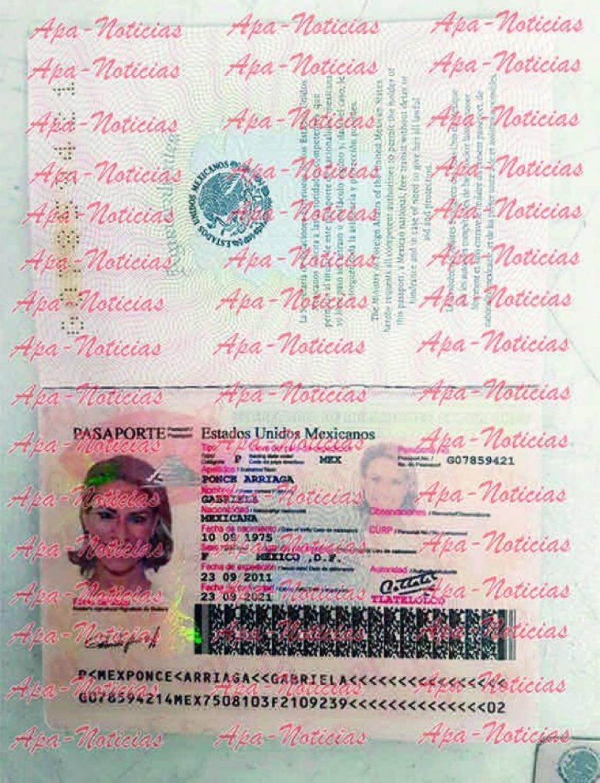Este es el pasaporte falso con la foto de la esposa de Javier Duarte. (Foto: Apa Noticias)