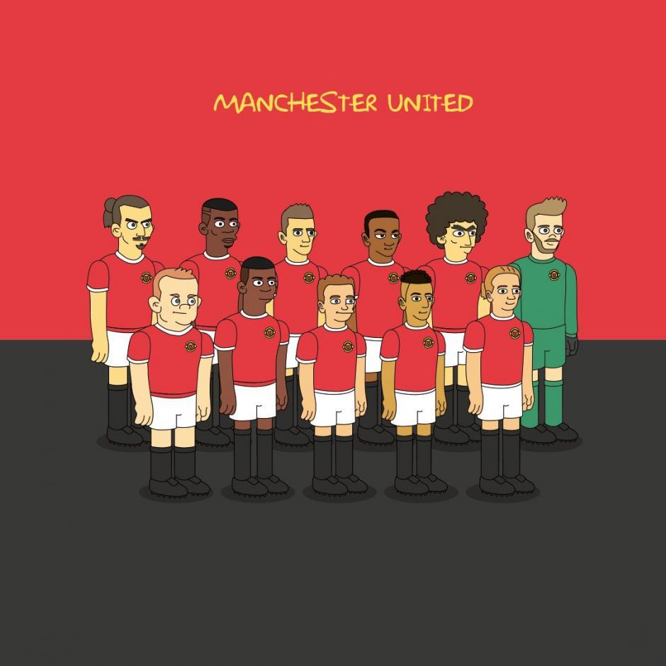 No podía faltar la plantilla del Manchester United al estilo de los Simpson. (Imagen: Emilio Sansolini)