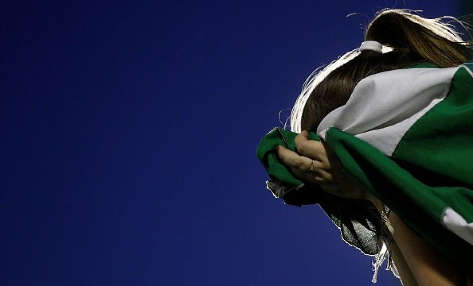 Los colores verde y blanco de Atlético Nacional y Club Chapecó se fundieron en uno solo. (Foto: AFP)
