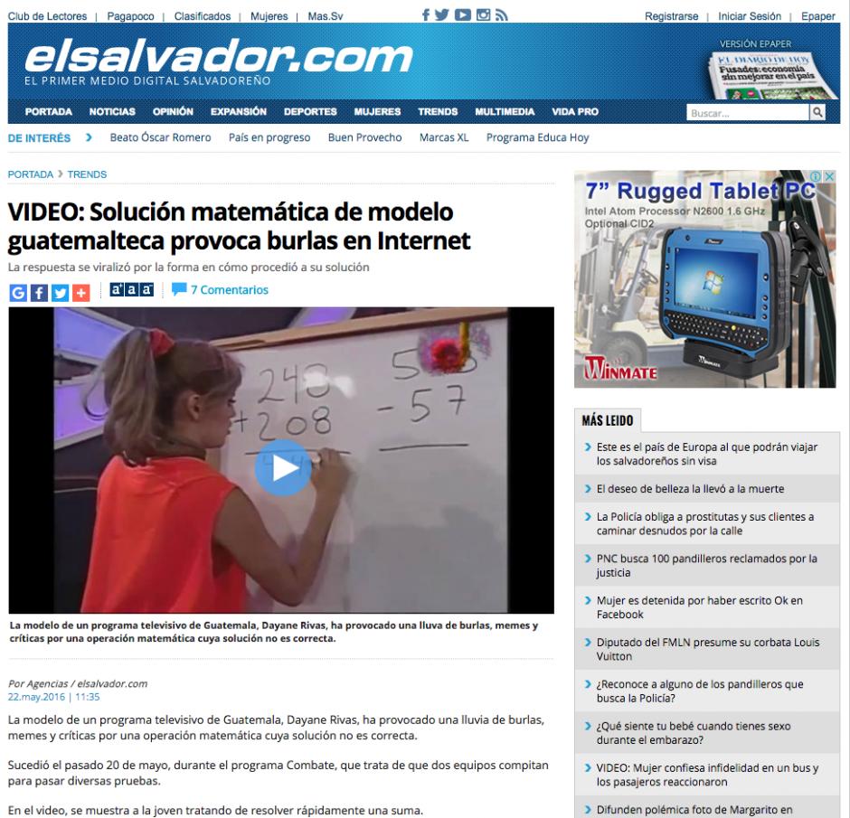 La guatemalteca se volvió famosa a nivel mundial por un error matemático. (Captura de pantalla: El Salvador.com)