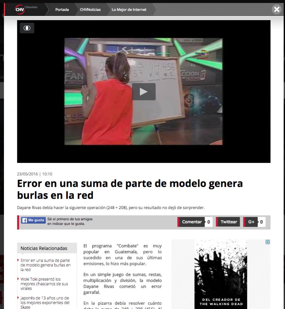 La concursante del programa Combate es conocida en el mundo por su error. (Captura de pantalla: Chile visión)