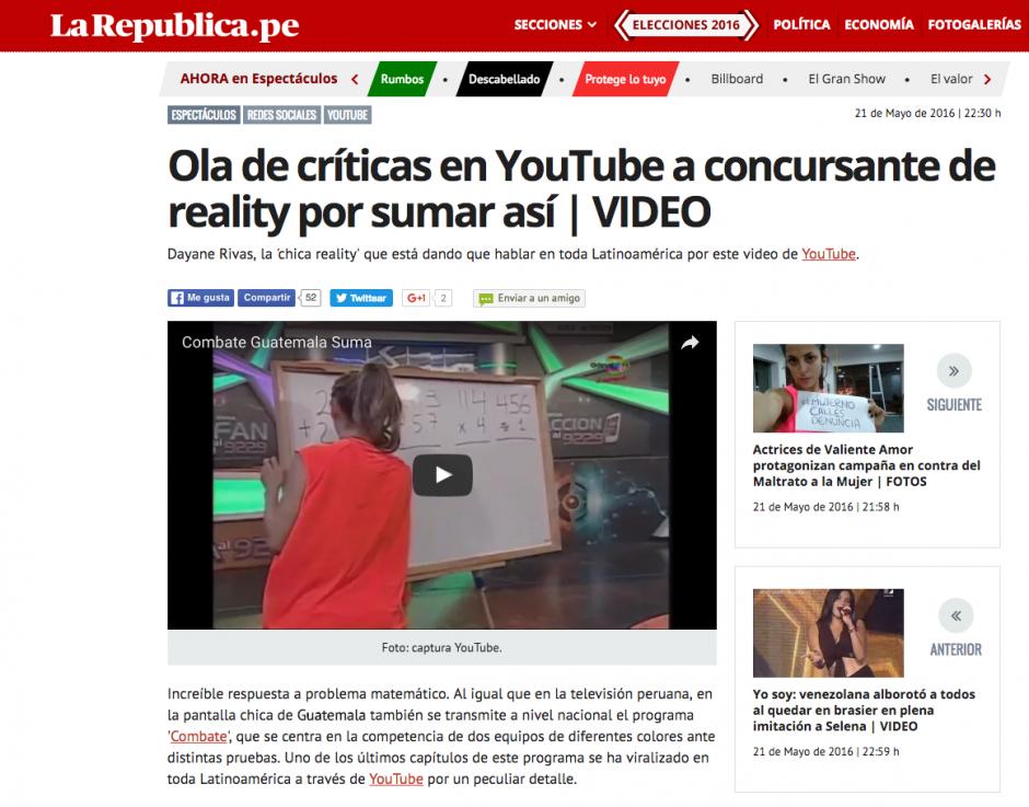 Dayane Rivas pertenece a un programa llamado Combate. (Captura de pantalla: La república.Pe)