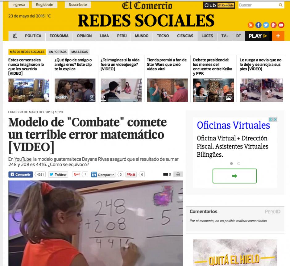 Decenas de medios replicaron la noticia del error matemático. (Captura de pantalla: El Comercio)