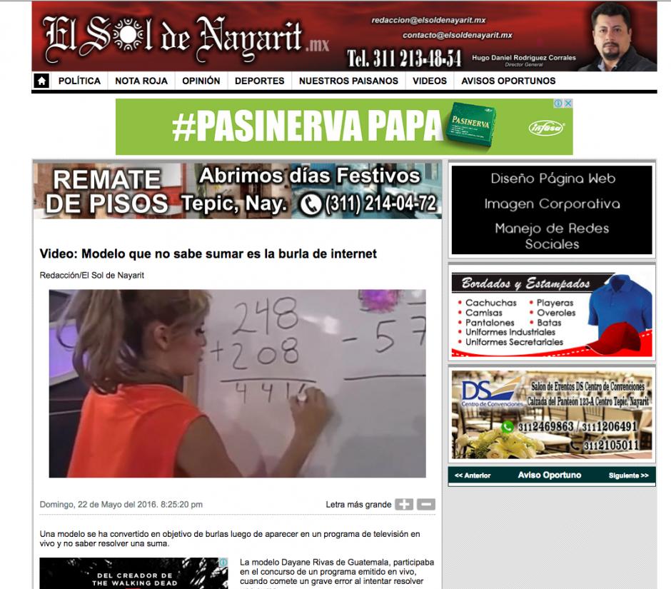 Dayana Rivas es popular en las redes sociales. (Captura de pantalla: el sol de Nayarit)