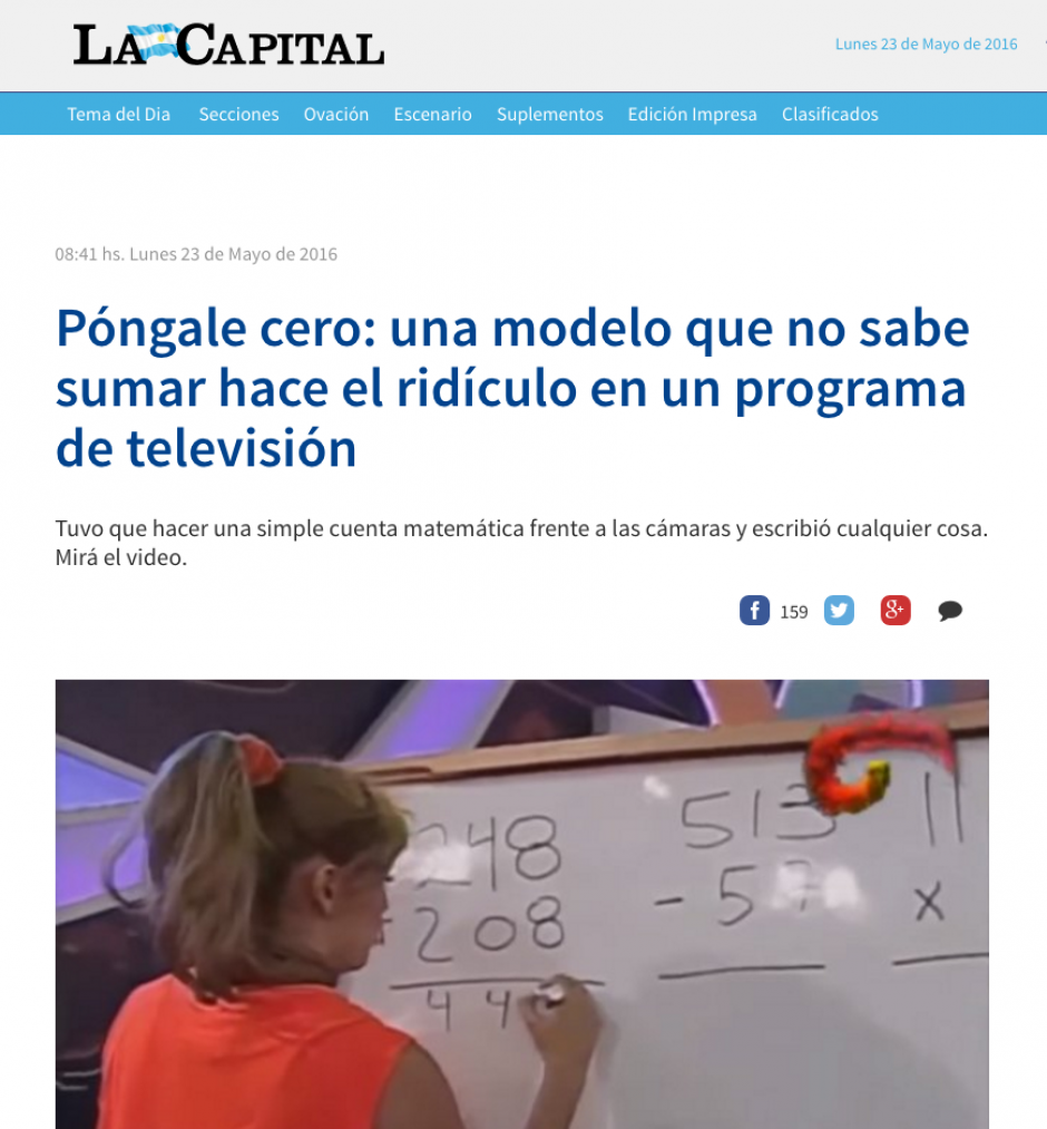 La joven se equivocó a nivel nacional cuando intentaba hacer una suma. (Captura de pantalla: la Capital)