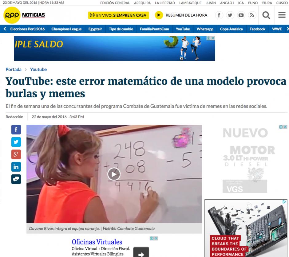 Decenas de medios publicaron el video de la guatemalteca Dayane Rivas. (Captura de pantalla: RPP Noticias)