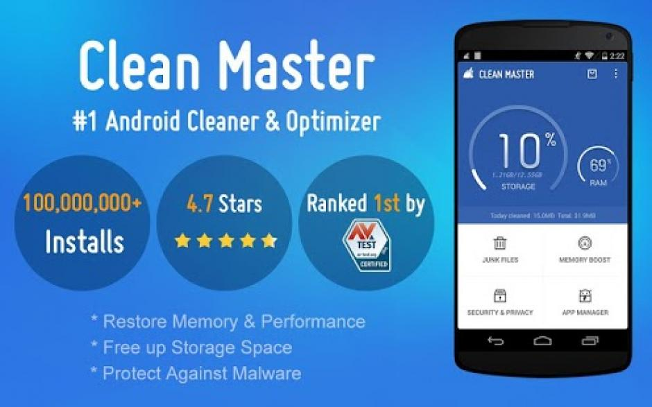 Irónicamente esta aplicación promete optimizar el uso de tu móvil pero es de las que más energía consume. (Imagen: descargarcleanmaster.net)