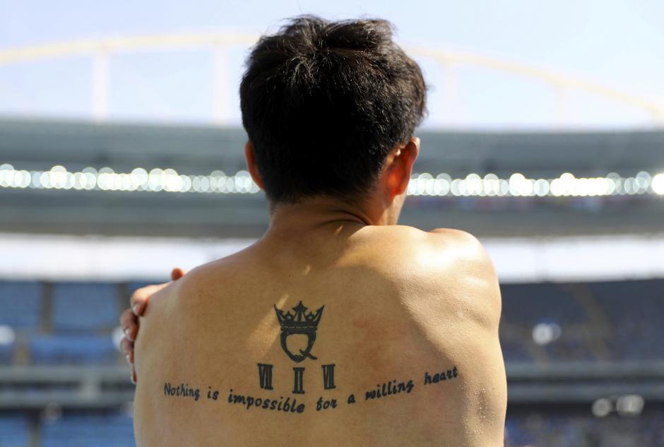El detalle en la espalda del chino Cao Shuo. (Foto: AFP)